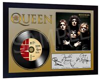 QUEEN Freddie Mercury  SIGNED FRAMED PHOTO PRINT AND Bohemian Rhapsody Mini LP