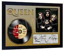 QUEEN Freddie Mercury  SIGNED FRAMED PHOTO PRINT AND Bohemian Rhapsody Mini LP