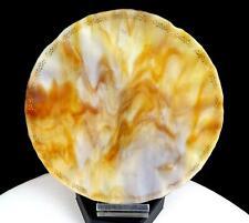 "ANTIQUE AGATE SLAG GLASS THIN BLOWN GILT SCROLL WORK 7"" FLUTED RIM PLATE 1920's"