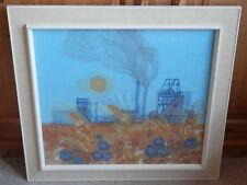 Summer to Autumn Mining Scene Needlepoint Large Framed Picture signed PAB 1970s