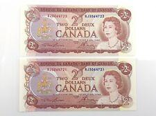 1974 2 Consecutive Canada Two Dollar RJ Prefix Uncirculated Banknotes I711