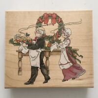 Stamps Happen CHRISTMAS DINNER Rubber Stamp Victorian Holiday Turkey 80183 Wood