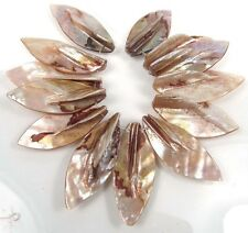 38-42mm Natural Lustrous Rainbow Mother of Pearl Leaf Pendant Beads