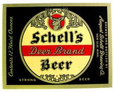 August Schell SCHELLS DEER BRAND STRONG BEER label MN 12oz