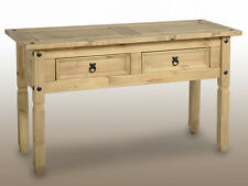 Corona Console Hall Side Table with Drawers Distressed Light Waxed Solid Pine