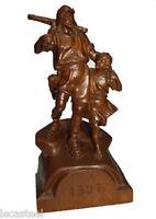 magnifique statuaire en bois sculpté - guillaume tell et son fils - black forest