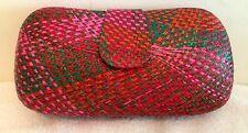 Straw Sand Clutch Bag Purse Handbag NEW Lady Womens Pink Red Orange Chain Only 1