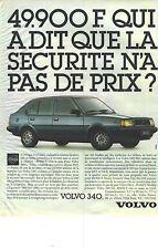 PUBLICITE ADVERTISING  1985  VOLVO 340 une voiture sécurisante &  économique