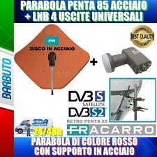 KIT PARABOLA 85 CM PENTA FRACARRO ROSSA IN ACCIAIO 211207 + LNB PER 4 DECODER