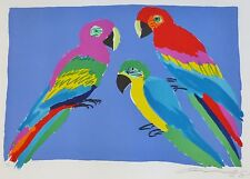 WALASSE TING 丁雄泉  Three Parrots 1978 HAND SIGNED 27/200 LITHOGRAPH CHINESE/US