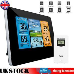 Digital Colok Wireless Weather Forecast Station Thermometer Barometer Alarm UK