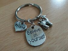 /'Believe in Yourself/' Friend Keyring with a Cute Llama Charm Lovely Gift