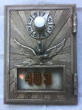 Vintage Post Office Mail Box Door Solid Brass War Eagle Includes Lock Combo