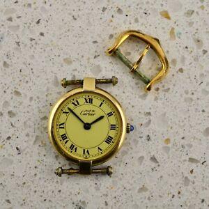 Vintage ladies Must de Cartier GP vermeil Argent 925 quartz watch and buckle