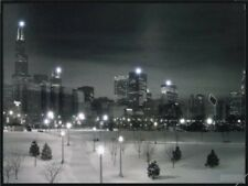 """Chicago USA - Winter Night Snow"" BEAUTIFUL LED Canvas /WALL ART 46cm X 61cm"