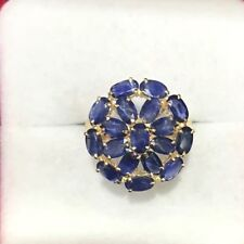 14k Solid Yellow Gold Cluster Ring 3.60GM/With Natural Sapphire size 8.25