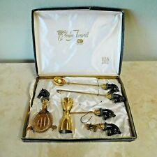 Vintage 5 Piece Set of Barware Accessories / Horse Heads / Crown Awards / Japan
