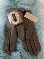 NWT Ladies Fownes Cashmere Lined Leather Gloves Taupe Med 7 1/2