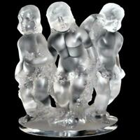 """Lalique Frosted Crystal, France Three Cherubs LUXEMBOURG, 7 3/4"""" tall"""
