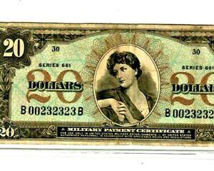 "$20  (SUPER RARE)!!!!! ""MILITARY PAYMENT CERTIFICATE"" $20 (SERIES 661)  CRISPY!!"