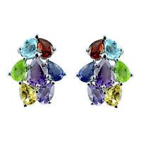 Natural Garnet Topaz Citrine Amethyst Gemstone 925 Sterling Silver Stud Earring