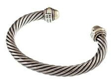 David Yurman Sterling Silver & 14k Yellow Gold Cuff Cable Bracelet
