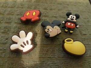 Lot of 5 Mickey Mouse shoe charms for Crocs shoes. Other uses Craft, Scrapbook