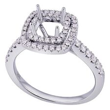 18K White Gold 0.42Ct Diamond Ring Setting With Double Halo (Sizable)