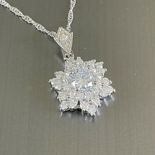 "White Gold Pendant & Chain with Sim Diamonds 18kGF Flower 18"" Chain CRUISE Boxed"