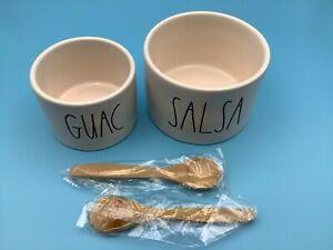 Rae Dunn Guac and Salsa Bowl Set with 2 Bamboo Spoons New in Box FabFitFun