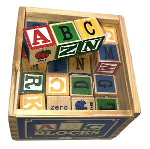 Schylling ABC Toy Blocks 48 Alphabet Letters And Numbers Wood Crate Preowned