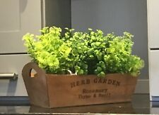4 x Artificial Herb Plants in White Pots & Wooden Rustic Trough Planter, Kitchen