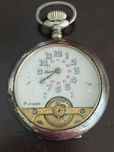 VINTAGE UNSIGNED HEBDOMAS POCKET WATCH, 8 DAY EXPOSED BALANCE, KEEPING TIME