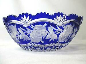 """BOHEMIAN / CZECH COBALT CUT TO CLEAR & FROSTED 12"""" CENTER BOWL ROSES & GEOMETRIC"""