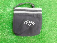 "Callaway Golf Black 6.5"" x 6.5"" Draw String Valuables Pouch Tote Bag Black New"