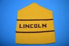 vintage 80s Lincoln Yellow Maroon Beanie Winter Knit Ski Skiing Hat