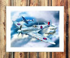 Spitfire fighter Painting HD Print on Canvas Home Decor Wall Art Pictures
