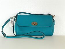 NWT Coach F54849 Ruby Crossbody Convertable Clutch~Turquoise~Crossgrain Leather