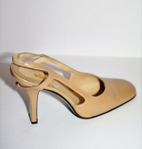 GIANNI VERSACE Brand Beige Leather Sling Back Court Shoes Heels Size 37