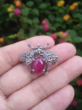 NATURAL Pink RUBY & MARCASITE FLY BUG 925 SILVER BROOCH or PENDANT