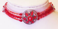 Red austrian crystals with beads chocker 12in