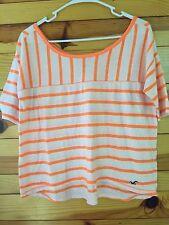 *HOLLISTER* Women's Juniors Neon Orange Confetti Striped Hi-Lo Top Shirt Size S