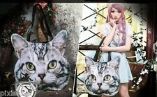 Cute American Shorthair Cat flat Tote Bag, shopping bag, lolita kera
