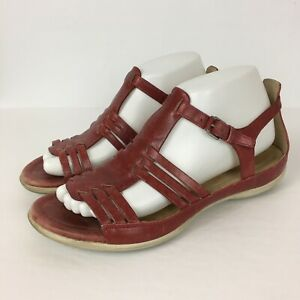 Ecco Flash Sandals Red Leather Strappy Flat Ankle Gladiator Womens EU 39 US 8.5