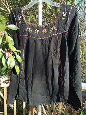 New_Beautiful_Peasant Boho_Mexican Style Embroidered Tunic Shirt_Black_S,M,L,XL