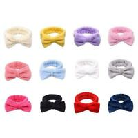 For Girl Pure Color Coral Fleece Bow Wash Hair Band Makeup Elastic Headband Y5M3
