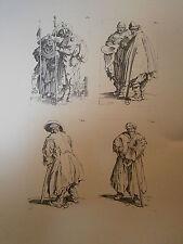 Planche gravure Jacques Callot 4 piéces tirées de la série les gueux 1622