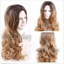 Women Mid- Long Curly Wavy Hair Cosplay Ombre Blonde Mix Wigs Synthetic Hair Wig