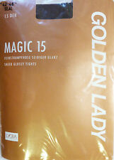 Golden Lady Large Size 15 Denier Sheer Glossy Italian Tights With Lycra Black