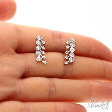 Sterling Silver 925 Cluster Arrow Earrings Cute Stud Earrings With CZ stones E51